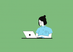 Cartoon character on a laptop